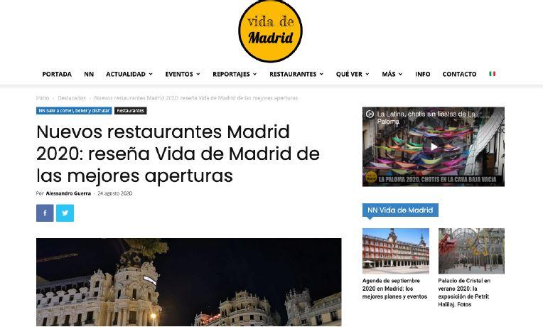 Nuevas aperturas 2020: Vida de Madrid.