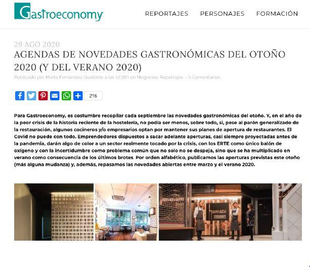 Novedades gastronómicas otoño 2020: Gastroeconomy